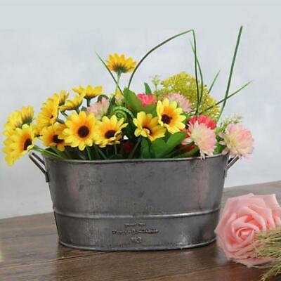 Retro Oval Galvanised Metal Garden Planter Flower Tub Pots Bucket Container Gray • 7.42£