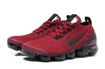 $156 • Buy NIKE AIR VaporMax 2019 Flyknit 3 Dark Red With Black LOGO Running Shoes