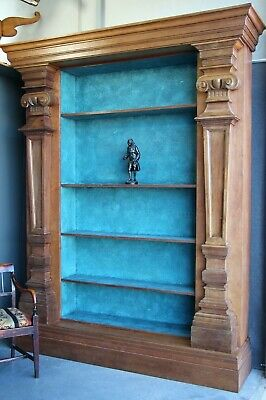 AU13850 • Buy Grand Italian Baroque Open Bookcase Architectural Carved Antique Walnut Columns