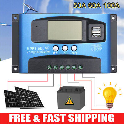 100A MPPT LCD Display Solar Panel Battery Regulator Charge Controller Dual USB • 20.60£