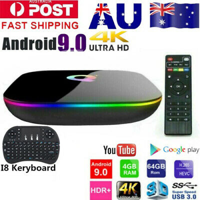 AU68.89 • Buy Q Plus 6K 3D 4+32G/64G Android 9.0 TV BOX Quad Core Home Media Player WIFIUSB3.0