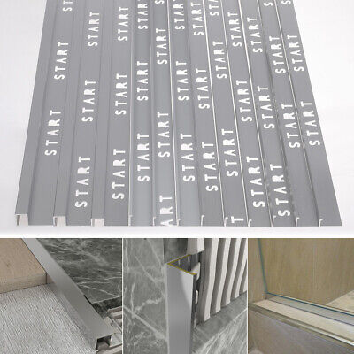10pcs 8/10/12mm Tile Trim Matte/Bright Chrome Aluminium Corner Piece Straight • 32.95£
