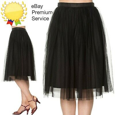 Banned Apparel Freefall Vintage Retro Tulle Net Mesh Black Midi Skirt UK Sz 8-24 • 29.99£