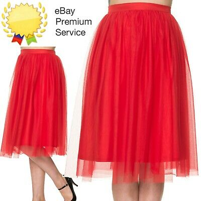Banned Apparel Freefall Vintage Retro Tulle Net Mesh Red Midi Skirt UK Sz 8-24 • 29.99£