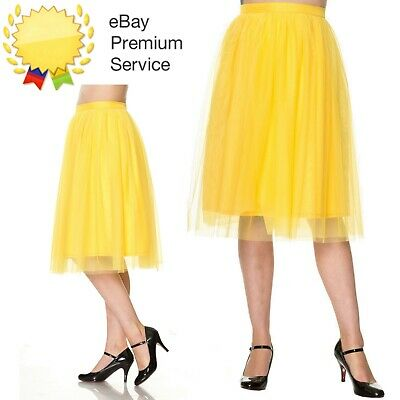 Banned Apparel Freefall Vintage Retro Tulle Net Mesh Yellow Midi Skirt Sz 8-24 • 29.99£
