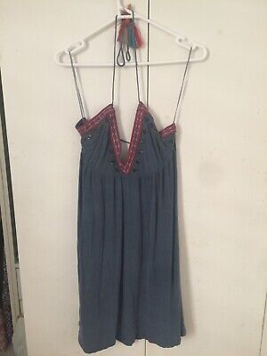 AU80 • Buy Tigerlily Navy Blue Embroidery Halterneck And Lowerback Size 14