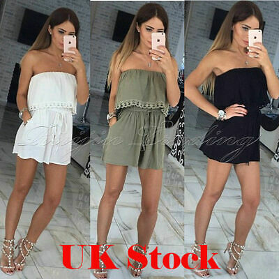 UK Ladies Playsuit Jumpsuit Leaf Shorts Bandeau Elasticated Summer New Womens • 8.99£
