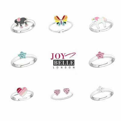 £7.95 • Buy Girls Kids 925 Sterling Silver Star Heart Unicorn Rings - Extra Small Adjustable