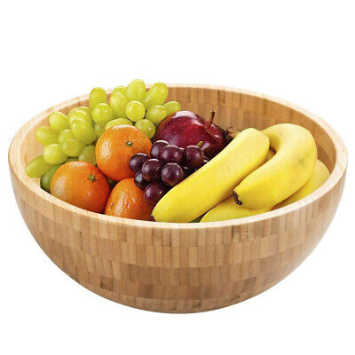 $12.60 • Buy Bamboo Salad Bowl Round Serving Bowl Natural Wood Dishware For Fruit Snacks