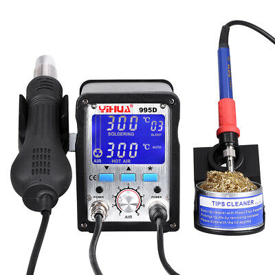 2 In 1 Soldering Iron Station Hot Air Gun Rework Digital LED SMD 4 Nozzles 995D • 76.99£