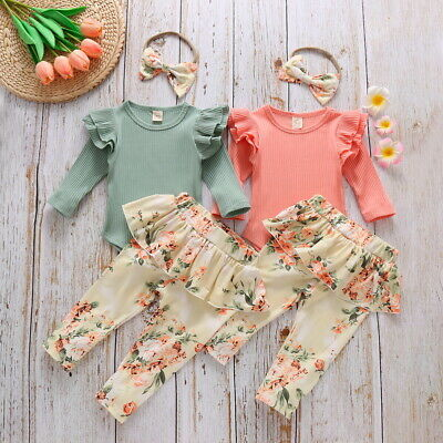 Baby Girl Crop Top + Floral Long Pants Summer Outfits Clothes Set 0-18 Months • 8.23£