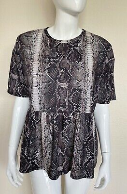 $12 • Buy Zara Trafaluc Women's Top Size Large, Peplum Hem Snake Skin Print, Short Sleeve