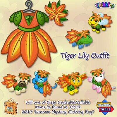 AU16.31 • Buy Webkinz Online Virtual SUMMER MYSTERY Clothing Items - TIGER LILY Outfit