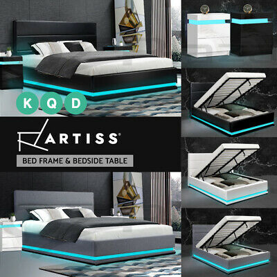 AU359 • Buy Artiss Bed Frame RGB LED Double Queen King Size Gas Lift Base Storage LUMI