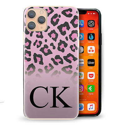 AU12.62 • Buy Personalised Initial Phone Case, Pink Leopard Print Hard Cover With Name