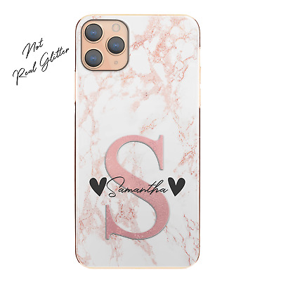 AU12.90 • Buy Personalised Initial Phone Case, Custom Name With Hearts Pink Marble Hard Cover