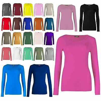 Womens Ladies Long Sleeve Stretch Plain Round Scoop Neck T Shirt Top Assorted  • 5.99£