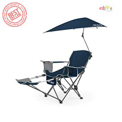 $79.56 • Buy Reclining Camping Chair With Footrest Blue Umbrella Canopy Sunshade Folding NEW