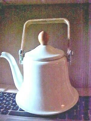 $13.50 • Buy Vintage Enamel Teapot Kettle, White, Wood Knob And Handle, COOKWARE COLLECTIBLE
