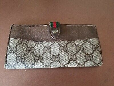 $64.99 • Buy AUTH Vintage GUCCI GG Monogram Leather Tan Bifold Long Wallet Purse Brown Italy