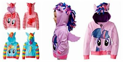 Girls Kids Toddler Hoodie  My Little Pony  Wing Cute Sweatshirt Coat Zip Jacket • 12.99£