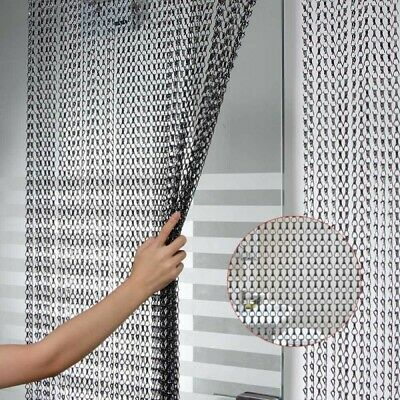 Metal Chain Fly Insect  Door Screen Curtain Pest Control Prevent Black 214x90CM • 33.99£