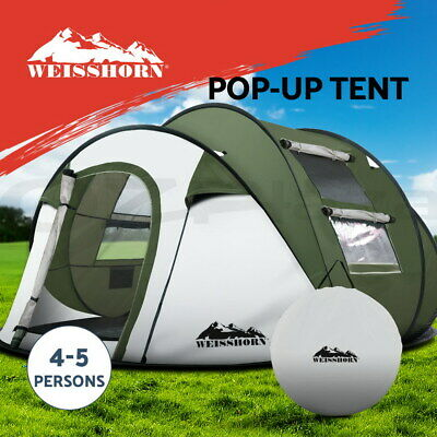 AU89.95 • Buy Weisshorn Instant Up Camping Tent 4-5 Person Pop Up Tents Family Hiking Dome