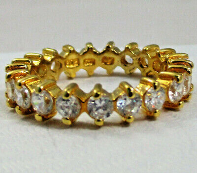 $21.99 • Buy Charles Winston Sterling Silver 925 Gold Plate CZ Eternity Ring Size 8 Stackable