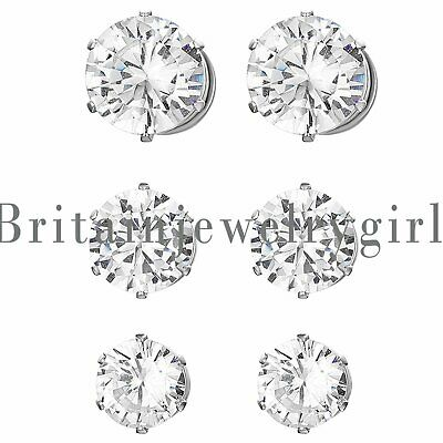 $6.99 • Buy Stainless Steel Magnetic CZ Stud Earrings For Womens Mens Non-Piercing Clip On