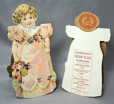 1895 BARBOUR's IRISH Sewing Thread VICTORIAN Advertising Trade Card PAPER DOLL A • 18.01£