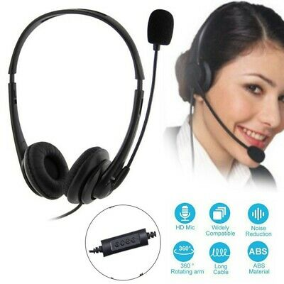 Wired Headphone USB Headset With Microphone For Skype Call Center Computer UK • 14.99£
