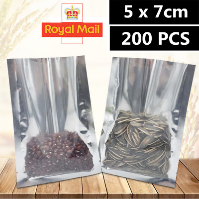 200Pcs Clear Aluminum Foil Mylar Stand Up Retail Bags Zip Lock Pouches Packaging • 5.89£