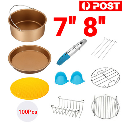 AU25.49 • Buy 7'' 8  Air Fryer Frying Cage Dish Baking Pan Rack Pizza Tray Pot Accessories AU