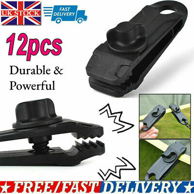 12pcs Tent Tarp Tarpaulin Clip Clamp Buckle Camping Tool Heavy Duty Reusable UK • 8.99£