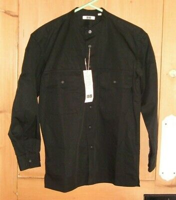 UNIQLO LONG SLEEVE BLACK COTTON GRANDAD SHIRT Size SMALL New With Tag • 4.99£