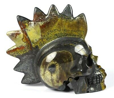 $37 • Buy 5.0  COLORFUL TIGER IRON EYE Carved Crystal Punk Skull, Realistic, Healing