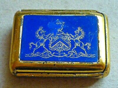 Antique Bryant & May's Wax Vesta Tin With Paper Label Our Trust Is God Motto • 20£