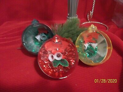 $12.56 • Buy Vintage Christmas Ornaments Plastic Diorama Prism Jewel Brite ✨  LOT Of 3  ✨ 3