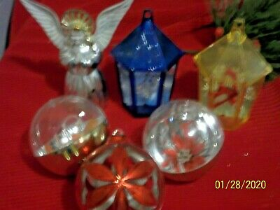 $12.56 • Buy Vintage Christmas Ornaments Plastic Diorama Prism Jewelbrite LOT Of 4 Plus More