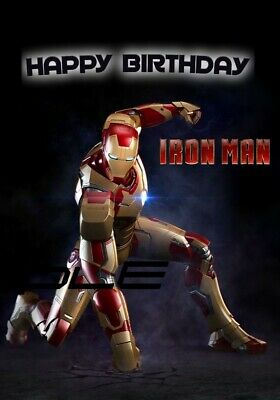 Marvel Iron Man Birthday Card DESIGNED & PRINTED INSIDE & OUT  • 5.99£