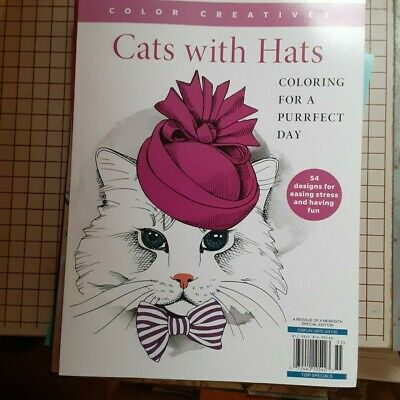 $8.99 • Buy Color Creatives Cats With Hats Adult Coloring Book 54 Designs