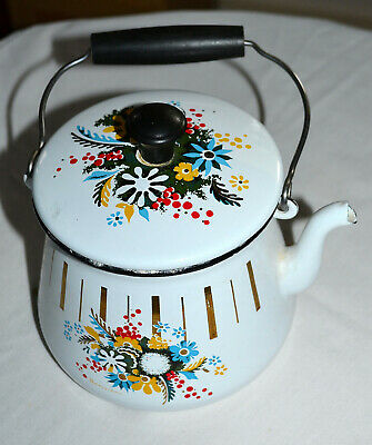 $19.95 • Buy Vintage, Small Enamel Teapot, Bail Handle, Flower Design, Country Kitchen Decor