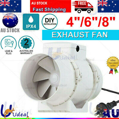AU58.99 • Buy 4/6/8 Inch Silent Fan Extractor Duct Hydroponic Inline Exhaust Industrial Vent