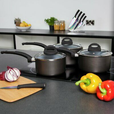 Tower Cerasure 3 Piece Ceramic Coated Saucepan Set - Black • 40£