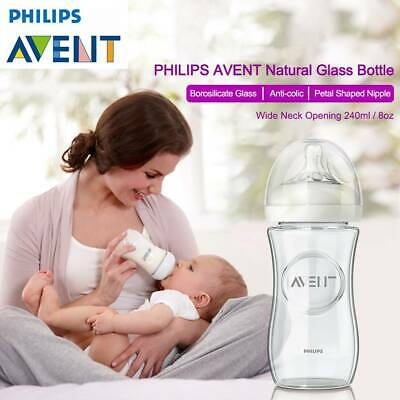 AU24.95 • Buy Philips Avent Natural Glass Bottle 240ml Wide Neck Anti Colic Borosilicate Glass