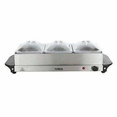 £29.99 • Buy Tower 3 Tray Buffet Food Warmer / Server - Stainless Steel