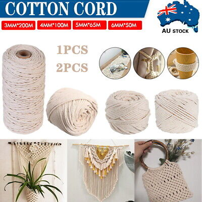 AU13.59 • Buy 3/4/5/6mm Natural Cotton Rope Cord String Twisted Craft Macrame Artisan 50-200M