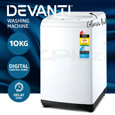 AU599 • Buy Devanti 10kg Top Load Washing Machine Quick Wash 24h Delay Start Automatic