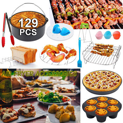 AU29.09 • Buy 8 Inch Air Fryer Frying Cage Dish Baking Pan Rack Pizza Tray Pot Accessories AU