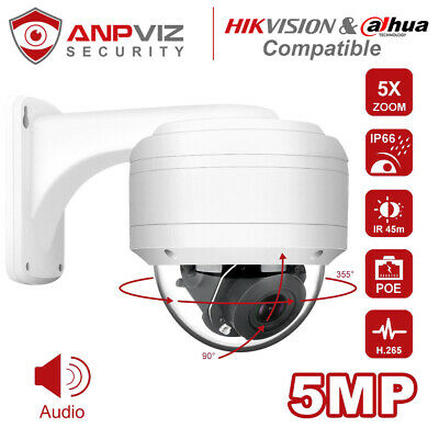 Hikvision Compatible Outdoor IP POE Camera 5MP PTZ 5X Zoom H.265 IP66 Onvif • 83.90£